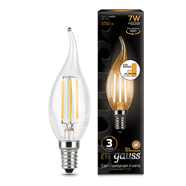 Gauss Лампа LED Filament Candle tailed E14 7W 2700K step dimmable 1/10/50